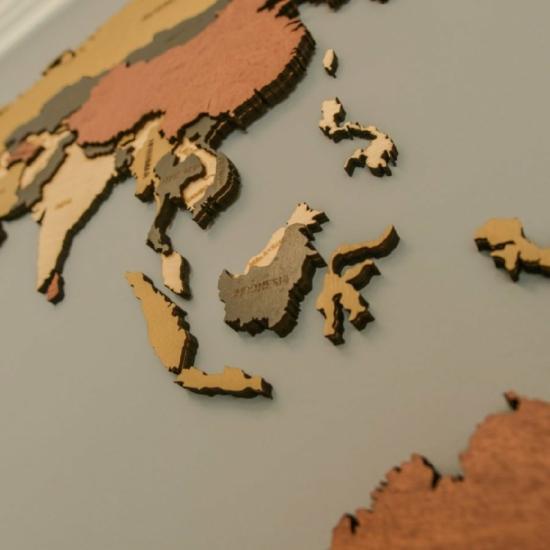 2D Fa Világtérkép - Klasszikus - Aranytölgy